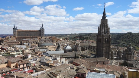 Pan shot of the cathedral of Saint Marie
