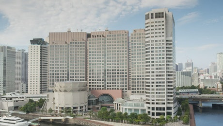 Panning shot of Tokyo city