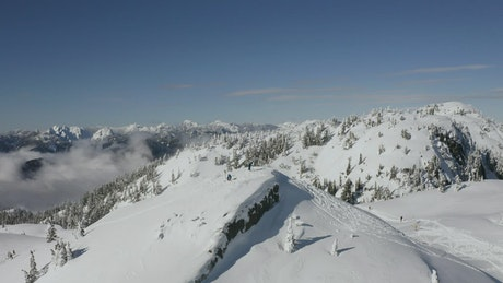 Panorama of a mountain range in Canada
