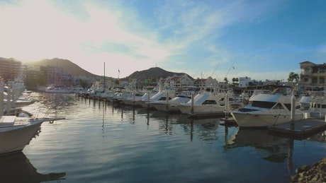 Panorama of a tourist port full of boats and sailboats
