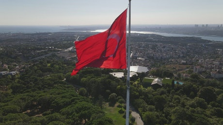 Panorama of the city around a Turkish flag on top