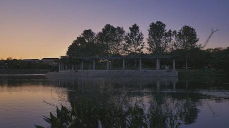 Panorama on a lake during sunset