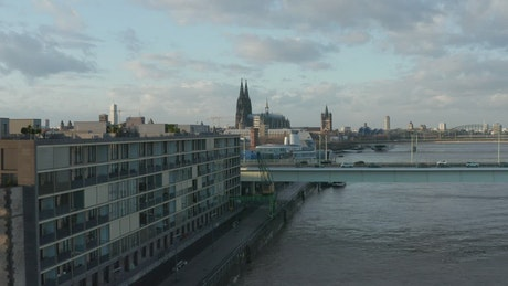Panoramic city view along the river in Germany