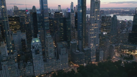 Panoramic shot of skyscrapers in New York at dusk