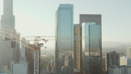 Panoramic view of a city from a crane