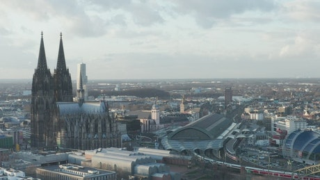 Panoramic view of a city with a cathedral