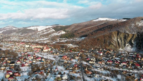 Panoramic view of a winter town at daytime