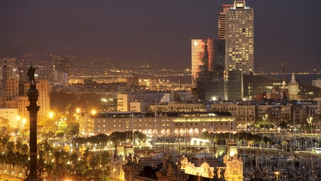 Panoramic view of Barcelona at night