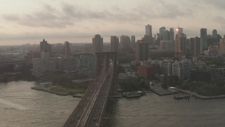 Panoramic view of Brooklyn flying over the bridge
