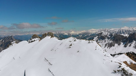 Panoramic view of the snowy peaks and mountains