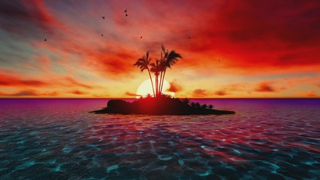 Paradise island in sea during a colorful sunset