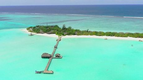Paradise sea with a tourist island