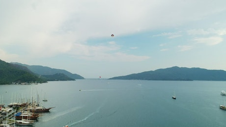 Parasailing over the ocean