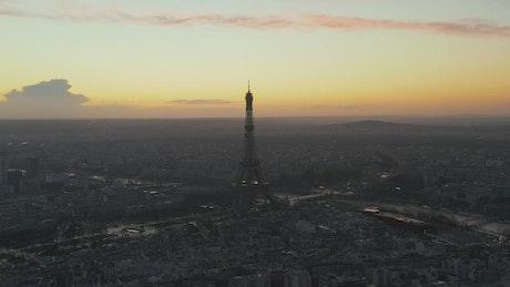 Paris at dawn from the air