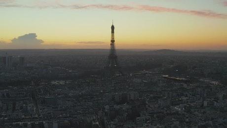 Paris at sunrise, aerial skyline shot
