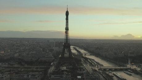 Paris from the air near the Eiffel Tower