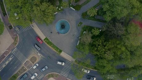 Park inside a roundabout, top shot