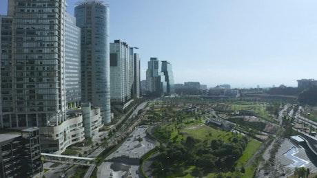 Park near tall buildings