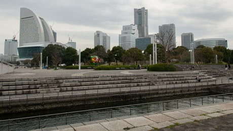 Park of a big city with people