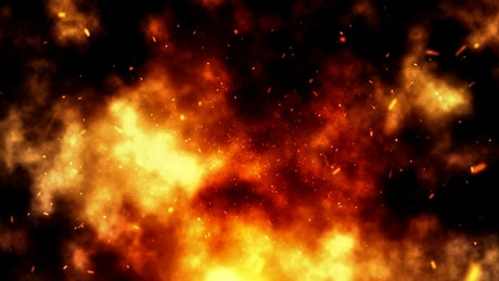 Particle explosion, smoke and fire