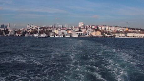 Passenger boat sailing near Istanbul city