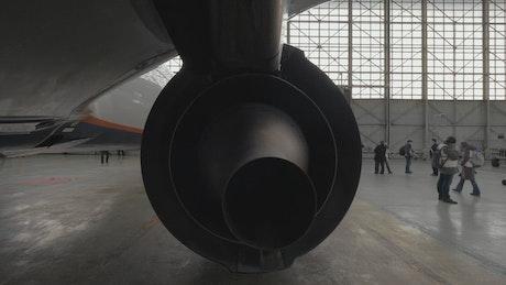 Passenger jet in a hanger