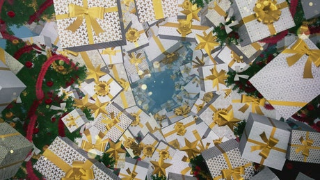 Passing among many gifts and Christmas trees in 3D