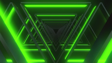 Passing through illuminated green triangles