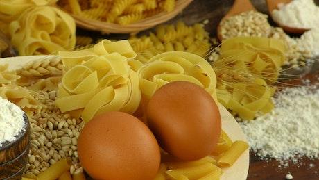 Pasta, eggs, wheat and flour