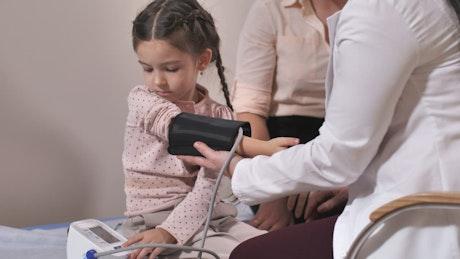 Patient having their blood pressure measured