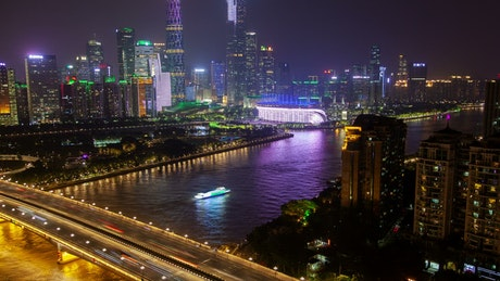 Pearl River and city lights in Guangzhou