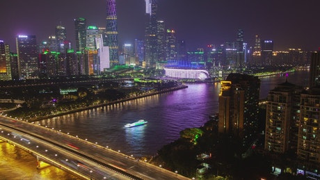 Pearl river at night and the city landscape