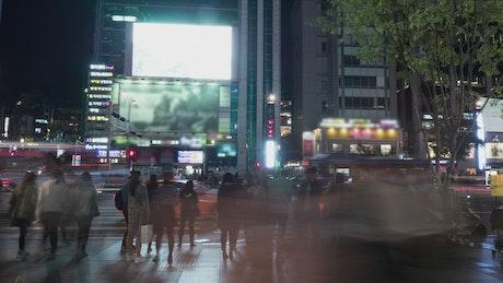 Pedestrians moving through Seoul