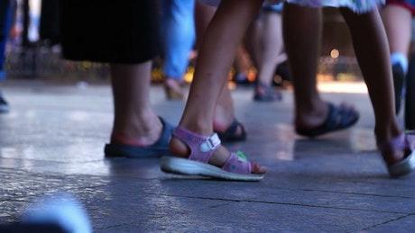 People feet walking