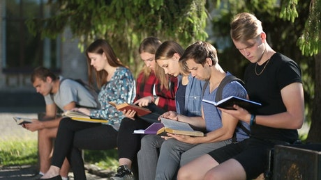 People in a garden studying with books in hand