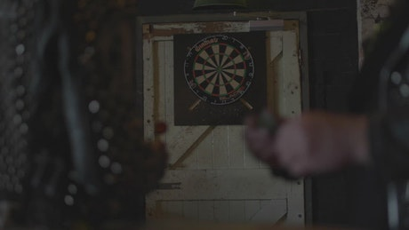 People playing darts
