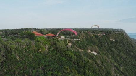 People practicing parachuting, aerial shot