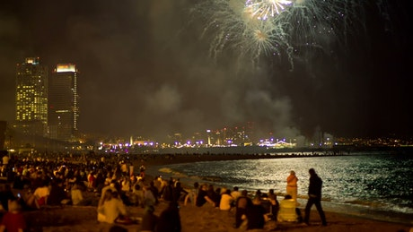 People seeing fireworks in the beach