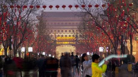 People walking in the Qianmen street in China