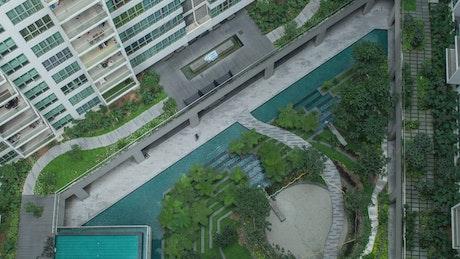 People walking outside luxury apartments