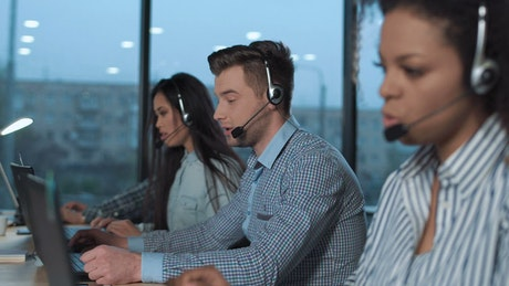 People working in a call center