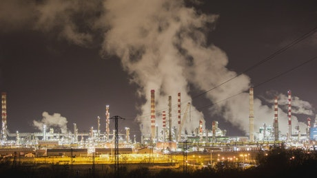 Petrochemical plant lit up at night