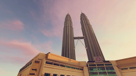 Petronas Towers during a sunset, 3D