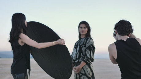 Photo session in the middle of a desert