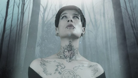 Photograph of a gothic woman with a dark cloudy forest in the background