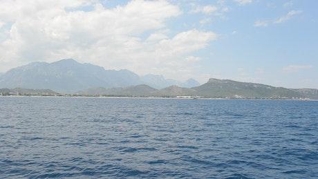Photographer looking back towards an island