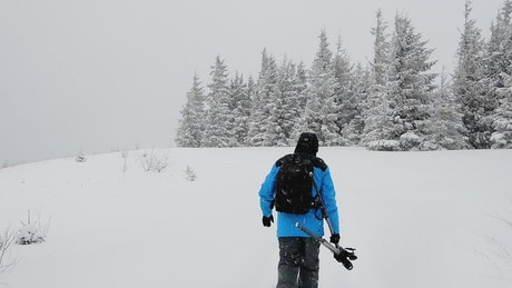Photographer with a backpack walking in the forest while snowing