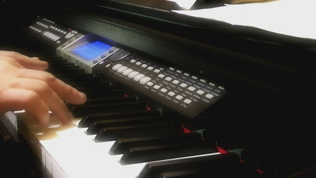 Pianist practicing a song
