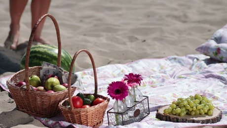 Picnic basket with wine and fruit