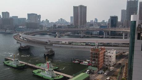 Pier and highway junction in Tokyo city